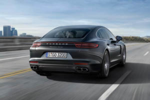 2017 Porsche Panamera Turbo rear three quarter in motion 02 300x200 پانامرا مدل ۲۰۱۷   اجاره ماشین