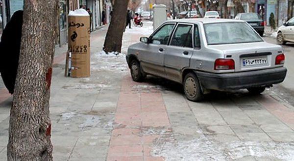 حمل با جرثقیل و 400 هزار ریال جریمه توقف خودرو در پیاده راه - اجاره خودرو طباطبایی