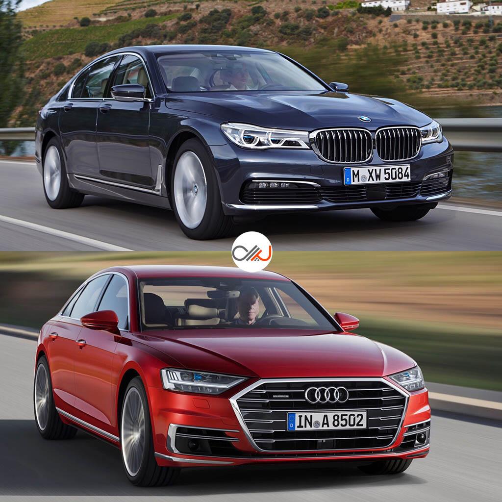 مقایسه تصویری بامو سری 7 و آئودی A8 جدید - اجاره خودرو